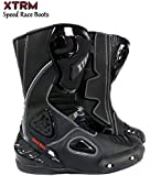 MOTORBIKE XTRM SPEED BOOTS Motorcycle Speed Racing Touring Sports Armour Boots BLACK/WHITE (UK 8 / EU 42)