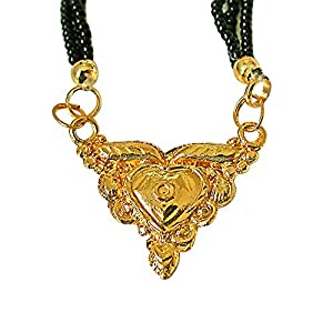Surat Diamonds Gold Plated Mangalsutra Pendant with Black Kedia Beads Chain 30 IN for Women  MNG6  available at Amazon for Rs.99