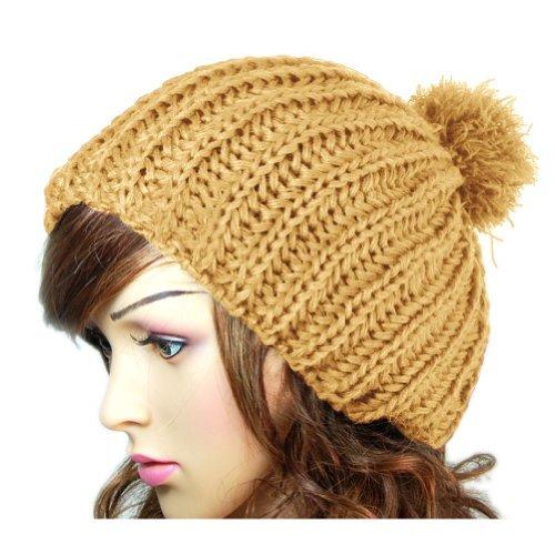 Dealzip Inc®Light Coffee Trendy Women Winter Warm Knit Crochet Wool Snow Ski Beanie Hat Cap+Gift Pattern Send Randomly