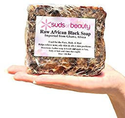 #1 Trusted African Black Soap With Shea Butter & Coconut Oil -LOVE IT OR YOUR MONEY BACK African Soap Fights Acne, Eczema, Psoriasis -Anti Wrinkle, Anti Aging & Repairs Dark Circles, Fades age spots -1 Pound(16 oz) Natural Ingredients -Suds of Beauty