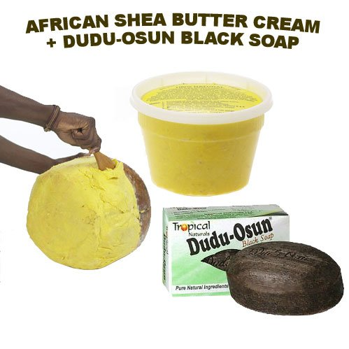 Lowest Price HalalEveryDay African UNREFINED FILTERED Shea Butter Creamy 16 Oz & DuDu-Osun Black Soap