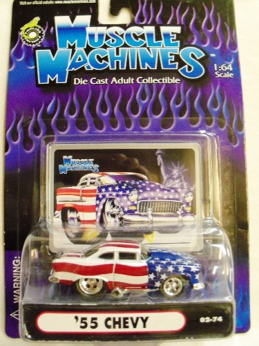 Muscle Machines 02-74 Die Cast 1:64 Scale Stars & Stripes '55 Chevy - 1