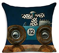 """Ycch Cotton Linen Square Decorative Cushion Cover Sofa Throw Pillowcase 18"""" x 18"""" Dog by valley"""