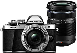 Olympus OM-D E-M10 Mark II Compact System Camera in Silver + 14-42 EZ Lens + 40-150mm R