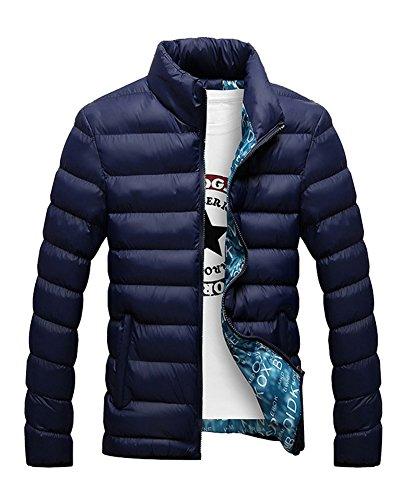 LaoZan Maniche lunghe cappotto con Cerniera inverno giacca casuale - Uomo M Blu zaffiro
