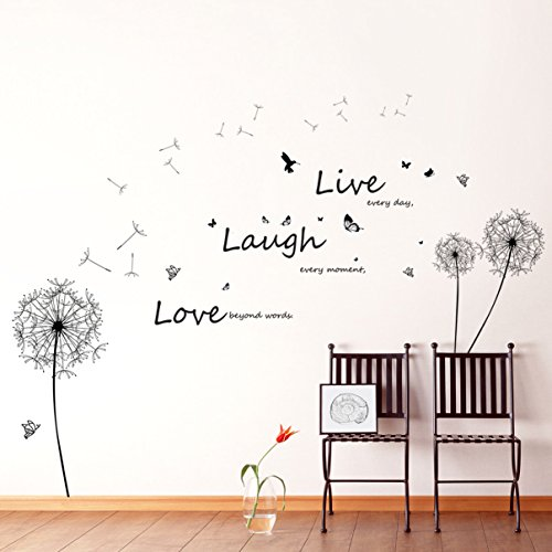 Walplus Huge Dandelion/ Live Laugh Love/ Butterflies Wall Stickers Mural Paper