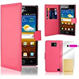 32nd Brieftasche / Smartphone-Schutzh�lle / Handytasche f�r Samsung Galaxy S2 i9100, PU-Leder, Kreditkartenf�cher, Displayschutzfolie, Reinigungstuch, Eingabestift