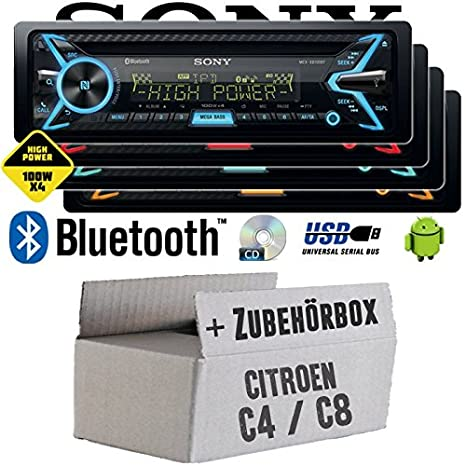 Citroen C4 C8 - Sony MEX-XB100BT - Bluetooth | CD | MP3 | USB | 4x100 Watt Autoradio - Einbauset