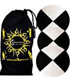 3x Pro Thud Juggling Balls - Deluxe (SUEDE) Professional Juggling Ball Set of 3 + Fabric Travel Bag! (Black/White)