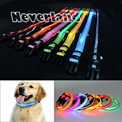 Neverland 3 size Pet Dog Cat Puppy Safety Nylon Glow Collar Waterproof LED Light Adjustable by Neverland-motor