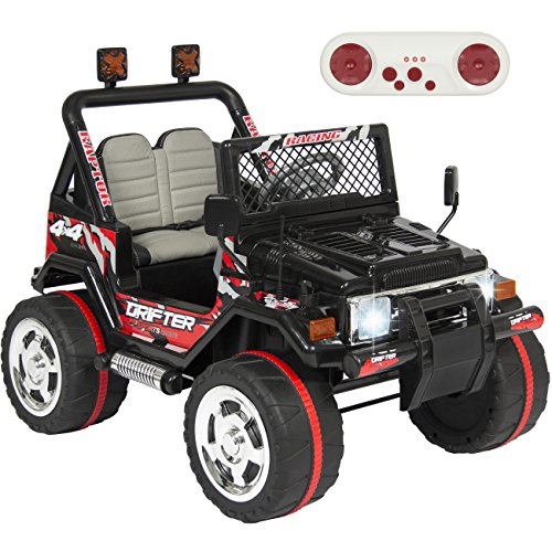 Best Choice Products Jeep Wrangler Style 12V Ride On Car w/ Remote Control, Leather Seat, UV Lights, 2 Speeds black