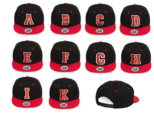 4sold-ABC-Rot-Schwarz-Cap-Snapback-Baseballkappe-Druckknopfverschluss-verstellbar-mit-flachem-Schirm