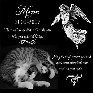 "Personalized Dog Cat with Guardian Angel Pet Memorial 12""x12"" Engraved Black Granite Grave Marker Head Stone Plaque"