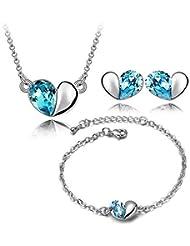 YouBella Jewellery Heart Shape Crystal Combo Of Pendant Necklace Set, Bangle Bracelet And Fancy Party Wear Earrings...