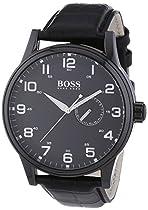 Hugo Boss Black Dial Black Leather Mens Watch 1512833