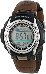 "Casio Men's PAS400B-5V ""Pathfinder"" Resin Fishing Watch With Brown Canvas Band"
