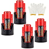 COCO-VISION 4 Pack New High Quality Milwaukee 48-11-2401 M12 RED LITHIUM 12-volt Cordless Tool Battery 48-59-1812/2510-20/48-59-2401