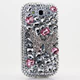 3D Luxury Swarovski Crystal Sparkle Diamond Bling Silver Pink Butterfly Design Case Cover for Samsung Galaxy S4 S 4 IV i9500 fits Verizon, AT&T, T-mobile, Sprint and other Carriers (Handcrafted by BlingAngels®)