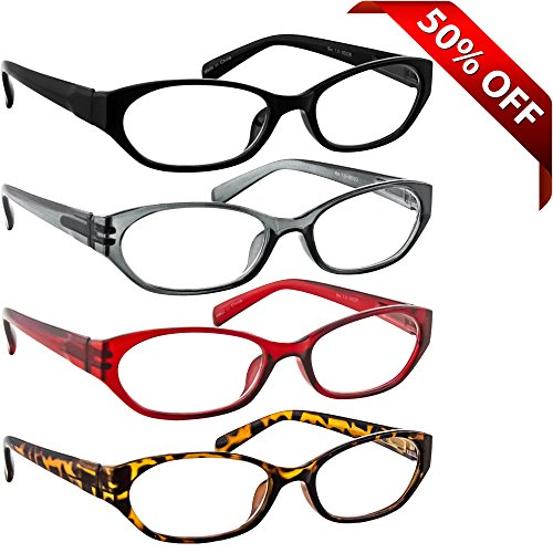 Reading Glasses 4 Pack Black Red Tortoise & Grey _ Always have a Stylish Look & Crystal Clear Vision When You Need It! _ Comfort Spring Arms & Dura-Tight Screws _ 180 Day Guarantee + 5.00 (Readers 450 compare prices)