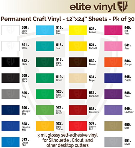 "30 Sheet Pack 12""X24"" Glossy Craft Vinyl For Craftrobo, Silhouette, Cricut, And Similar Cutters- Ev241S front-954956"