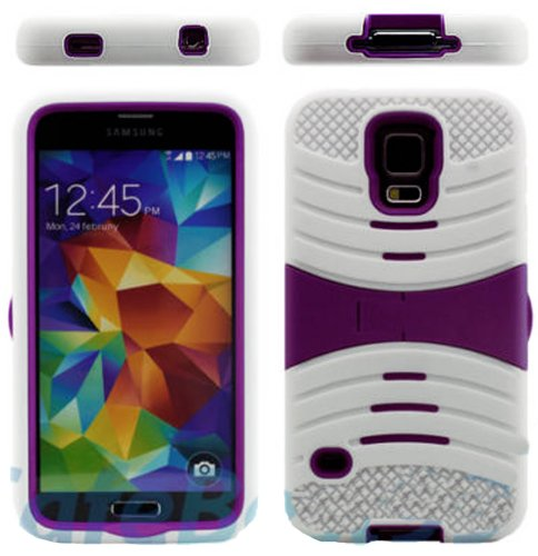 Mylife (Tm) Snow White And Dark Plum Purple - Shockproof Survivor Series (Built In Kickstand + Easy Grip Ridges) 2 Piece + 2 Layer Case For New Galaxy S5 (5G) Smartphone By Samsung (Internal Flex Silicone Bumper Gel + Internal 2 Piece Rubberized Fitted Ar
