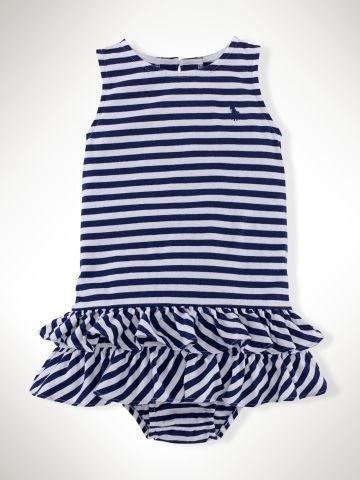 子供服 ラルフローレン ベビー ストライプ フリルドレス Striped Ruffled Cotton Dress 18M(85) FallRoyalMulti[並行輸入品]