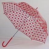 Clear Red Polka Dot Umbrella