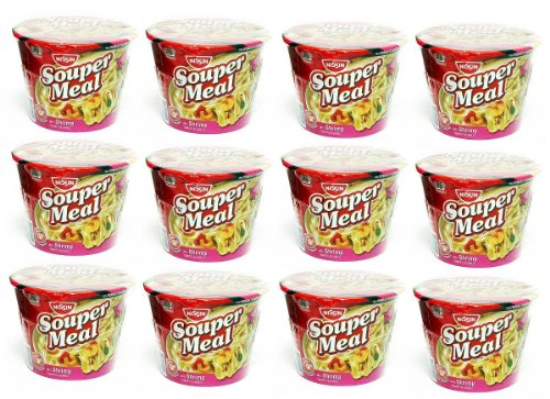 Nissin Souper Meal With Shrimp Tomato & Garlic Ramen Noodle Soup, With Improved Flavor And Premium Straight Noodles: 12 Pack Of 4.3 Oz