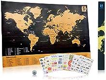 Scratch Wanderlust Mapa De lujo - Utilice nuestra moneda para rasgar fácilmente - El mapa incluye 229 pegatinas de viaje - Comparta sus historias de viajes