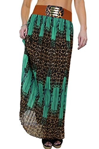 ICE (2518-4) a lungo Gypsy Skirt pieghettato chiffon stampa animale Duck and Blue Shadow (42-46)