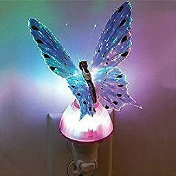 SORCO Fiber Optic Butterfly LED Color Change Night Light Lamp Purple