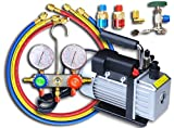マニホールドゲージR134a R22 R410a R404a&真空ポンプ 60L 逆流防止機能付き 2点セット
