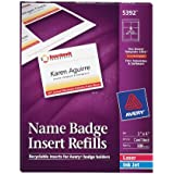 Avery White 3 x 4 Inch Name Badge Insert Refills 300 Count (5392)