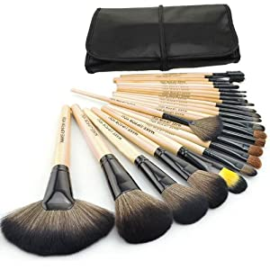 24pcs Roll up Case Cosmetic Brushes Kits Pro Wooden Handle Makeup Brushes Tools (Wood)