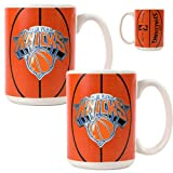 New York Knicks NBA 2pc Ceramic Gameball Mug Set - Primary Logo