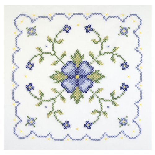 Janlynn Stamped Cross Stitch Quilt Blocks, Blue And Yellow Floral front-75376