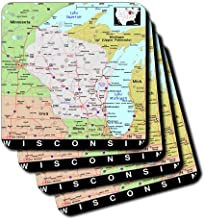 3dRose cst1745331 Image of Wisconsin Map of Cities and Roads in Exotic Colors Soft Coasters Set of 4