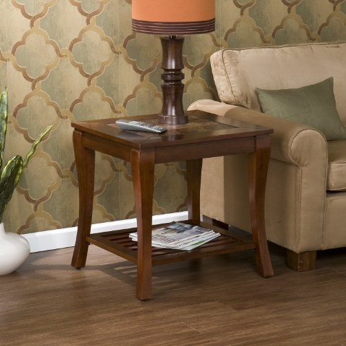Cheap Accent Wood with Slate End Table – Brown Cherry (B008YM4DA4)