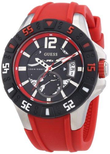 Guess W0034G1 - Reloj analógico de cuarzo para hombre con correa de silicona, color rojo