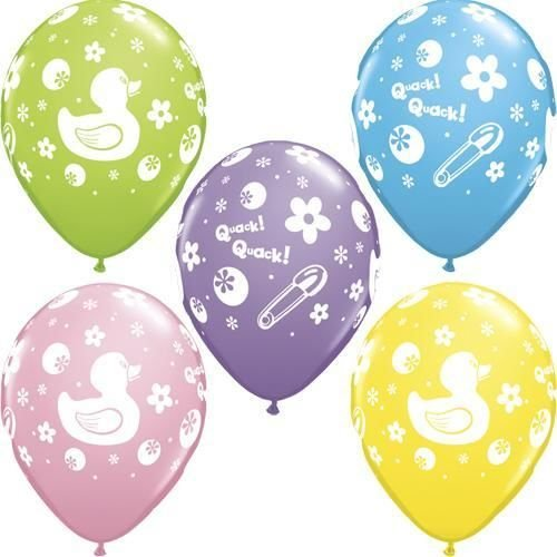 Rubber Duckie Theme Qualatex Latex 11 Inch Balloons X 5 - Clearance No Pink