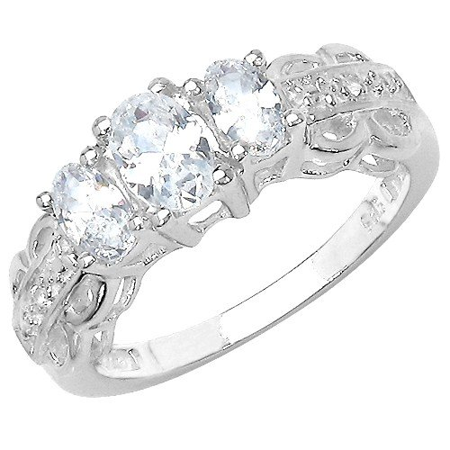 The Cubic Zirconia Ring Collection: Ladies Sterling Silver 3 Stone White CZ  Engagement Ring with White Topaz Set Shoulders (Size S)