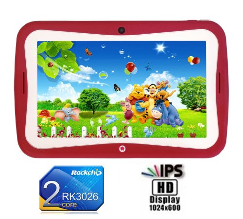 Afunta 7 Inch Kids Cartoon Tablet Pc Ips Capacitive Hd Screen 1024*600 Dual-Core Android 4.2 Dual Camera Wifi 512Mb Ram 8Gb Rom Af706 (Rosepink)