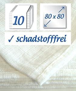 Rezzultanz - Pañal de gasa (algodón lavable hasta 95°, 10 unidades, 80 x 80 cm), color blanco