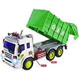 WolVol Friction Powered Garbage Truck Toy with Lights and Sounds, Can open back