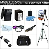 Accessory Kit For Sony HDR-CX160 High Definition Camcorder Includes Replacement (2300Mah) NP-FV70 Battery + Ac / DC Charger + Deluxe Case + Tripod + 3PC Filter Kit (UV-CPL-FLD) + Mini HDMI Cable + USB 2.0 SD Reader + Much More