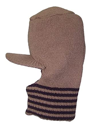 Stripe Ski Mask With Visor Hat (One Size)-Tan/Brown