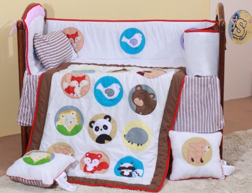 Unisex Baby Crib Bedding Set 8 Pieces Animal Design 202 - 1
