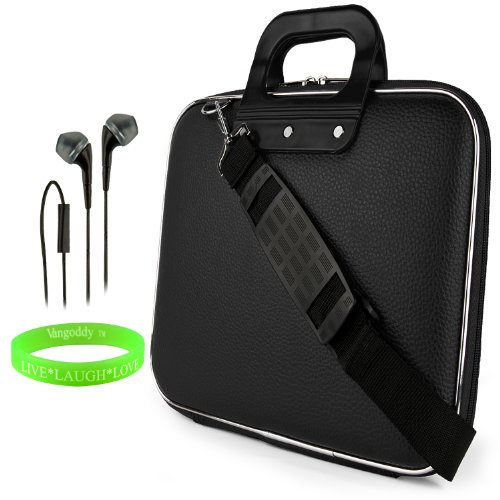 Cady Messenger Cube - Jet Black Ultra Durable Tactical Leather -Ette Bag Case Fits Apple Macbook Pro 13' Retina Display / Air 13' Inch Laptop + Black Hands-Free Earphone Headphones With Microphone