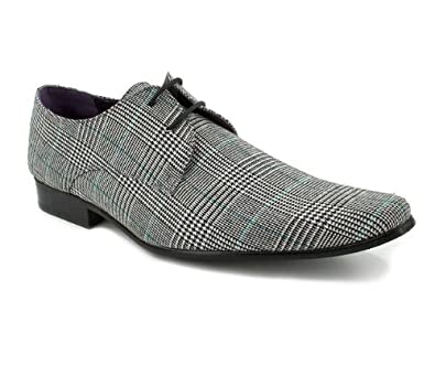 barratts mens grey checked lace up formal shoes size 12