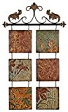Tuscan Metal Embossed Multi Colored hand Crafted Hanging Wall Tiles Set of 6 on Metal Rod